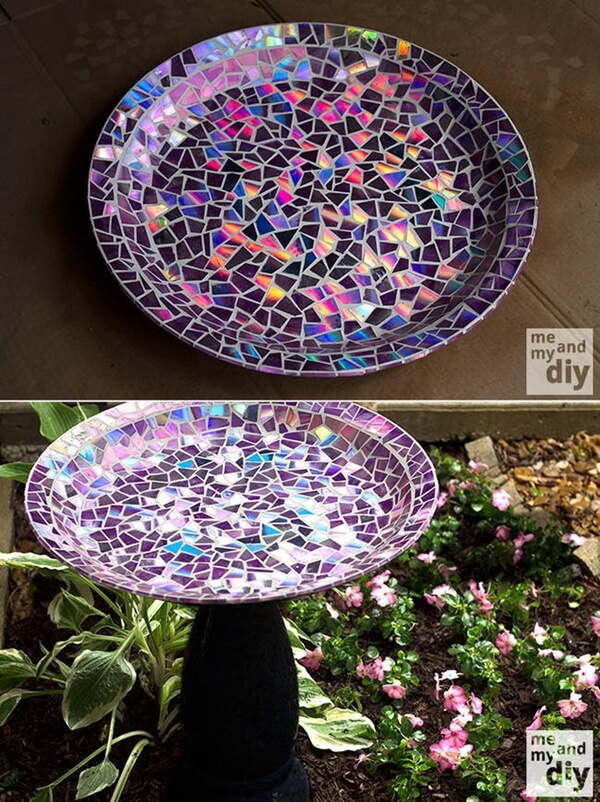 DIY Mosaic Top Bird Bath