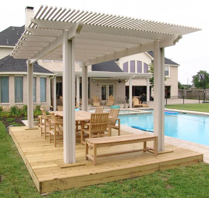 DIY Pergola Ideas: Pacific Picnic Wooden Pergola Setting