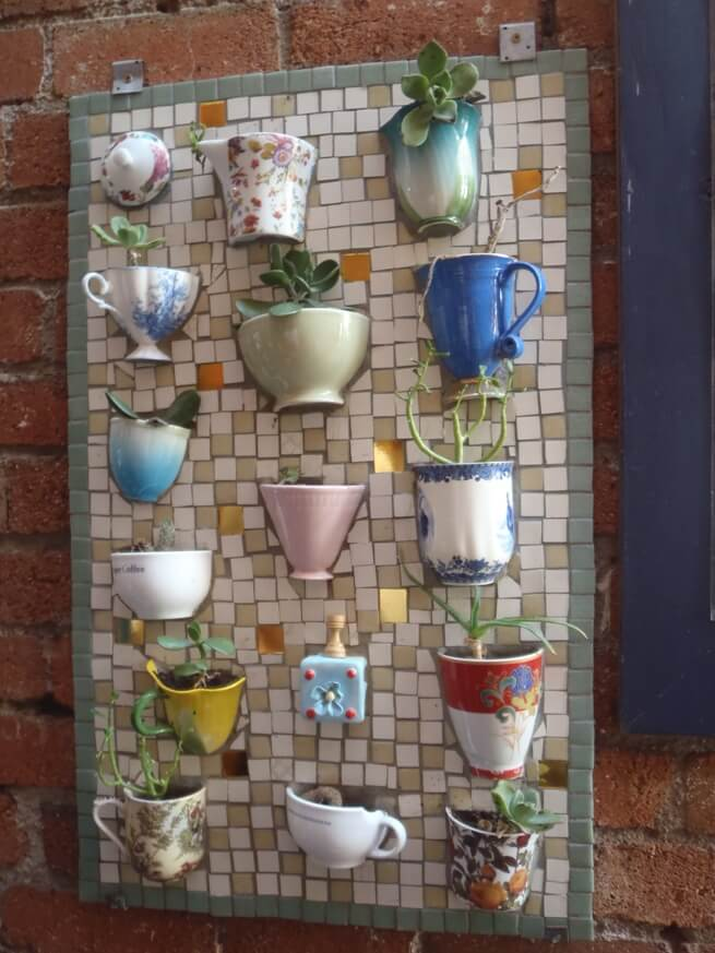 Repurposed Mosaic Tea Cup Planter