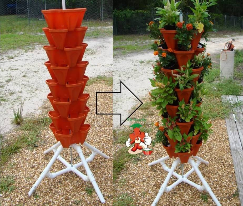 DIY Flower Towers Ideas: The Green Tower for Flowers and Herbs