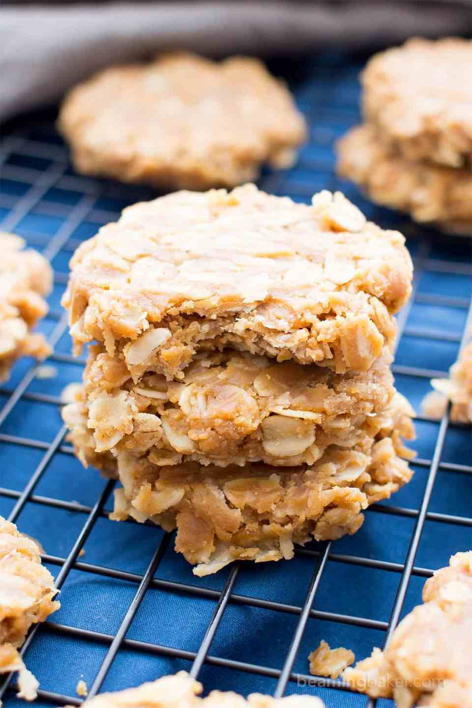 3 Ingredient No Bake Peanut Butter Oatmeal Cookies