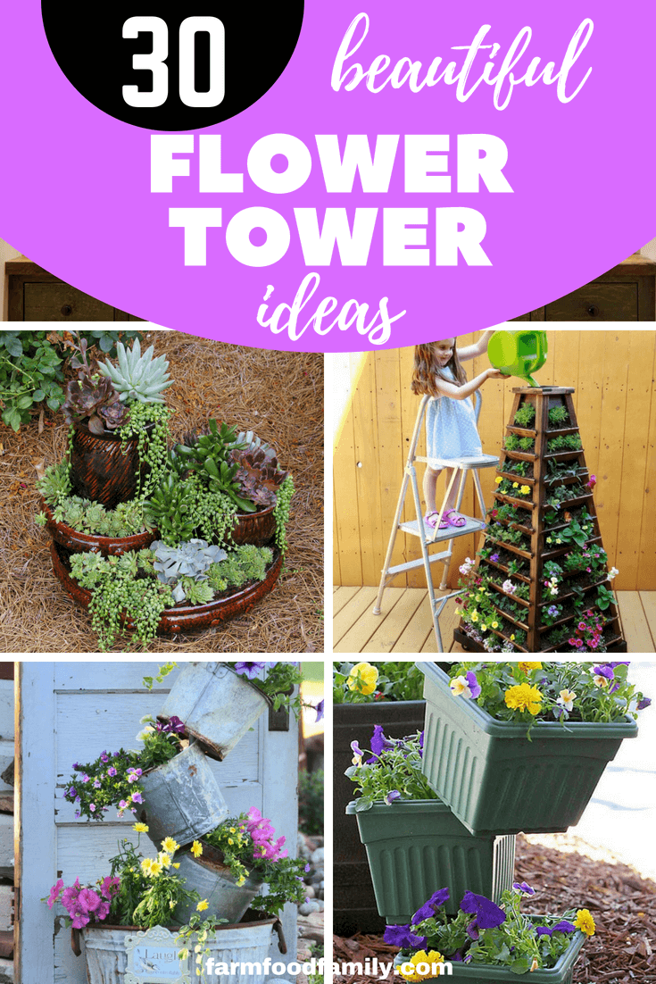 You have a small garden but do not know how to decorate. Only with a few steps and re-purposed stuff you can create a beautiful flower tower. These 31+ Beautiful DIY Flower Tower Ideas are perfect ways to brighten up your yard. #flowertower #gardeningideas #farmfoodfamily