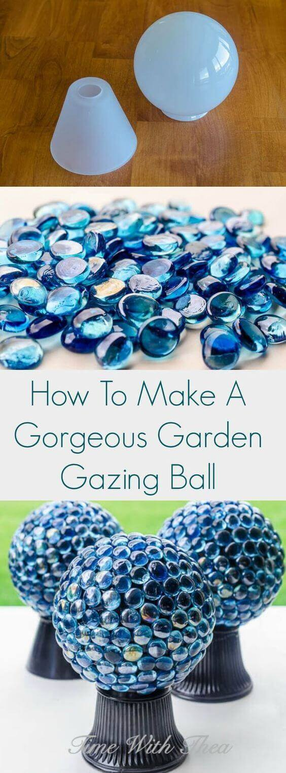 Use Glass Lampshades and Gems | DIY Garden Ball Ideas