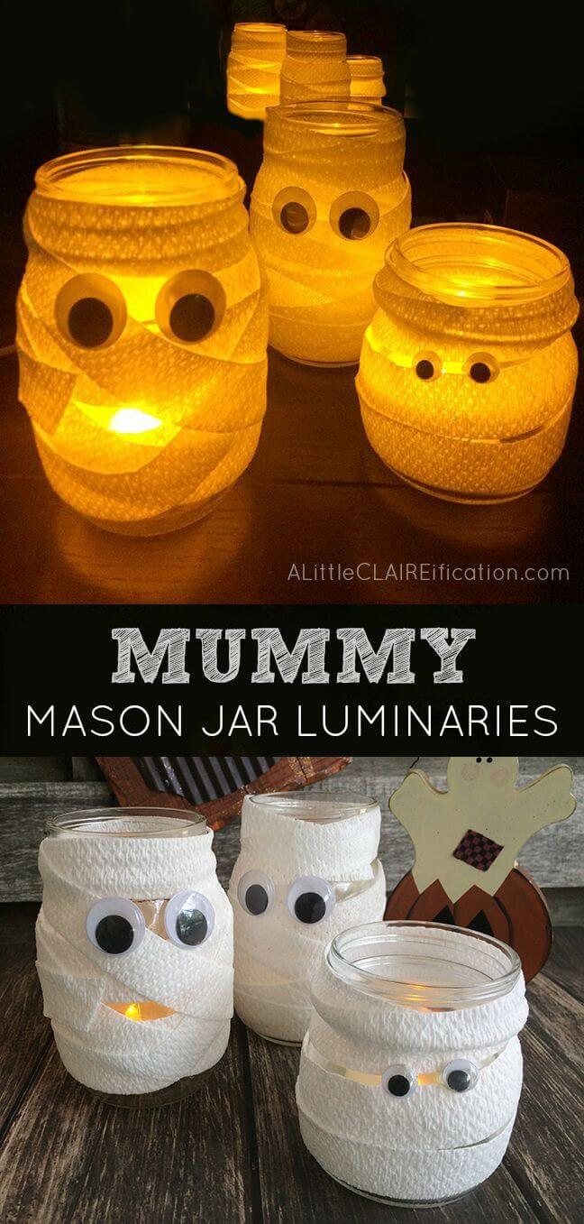 DIY Mason Jar Halloween Crafts: Googly-Eyed Mummy Mason Jar Luminaries