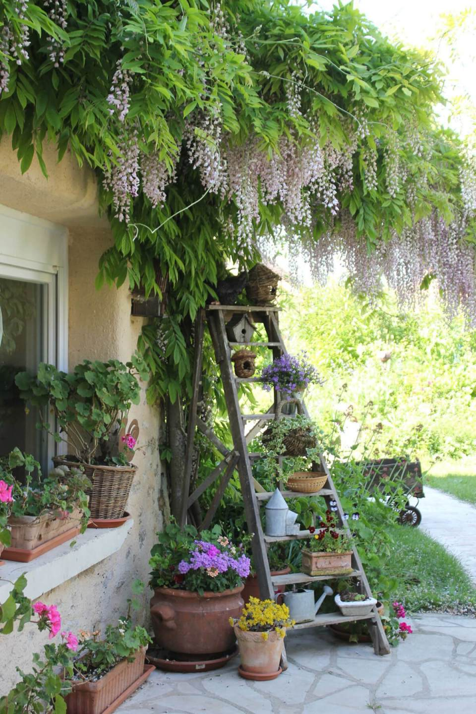 Ladder Plant Stand with Birdhouses