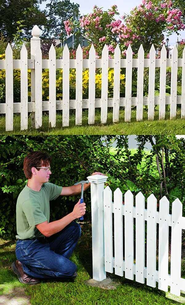 DIY Fence Ideas: DIY Classic White Picket Fence