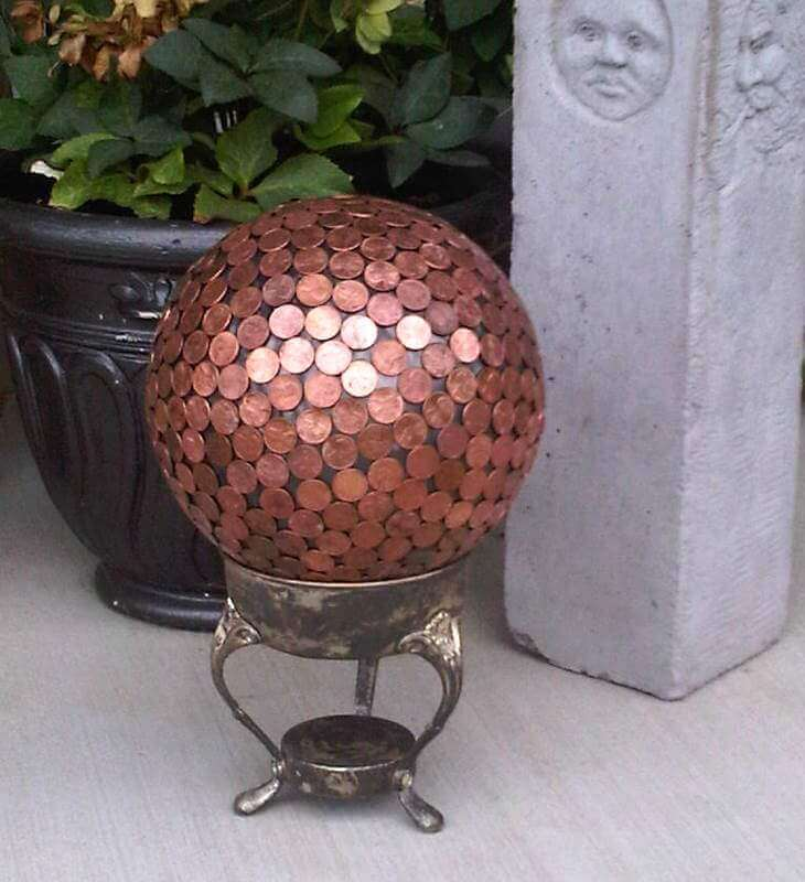 Cover a Metal Ball with Pennies | DIY Garden Ball Ideas