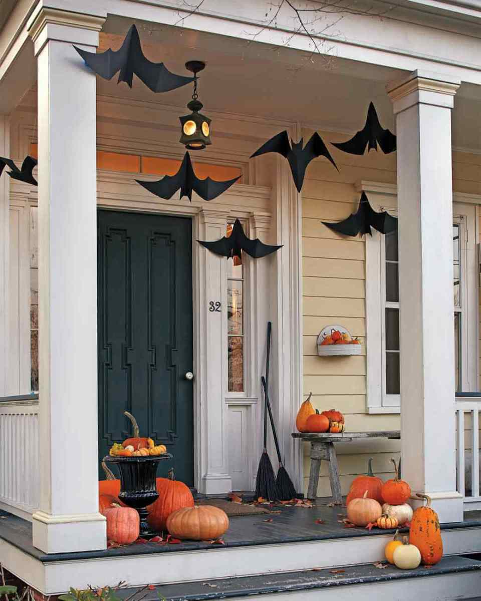 Uncomplicated Bat Decorations   Scary DIY Halloween Porch Decoration Ideas   vintage halloween porch