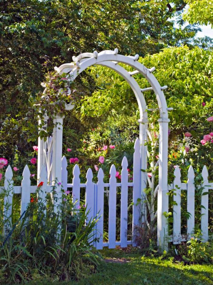 White Picket Fence with Arch