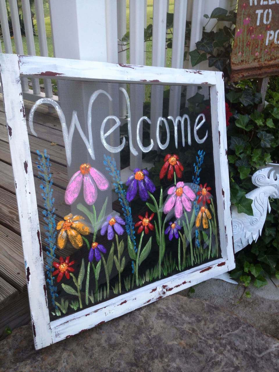 Beautiful Hand Painted Sign on a Screen   Funny DIY Garden Sign Ideas