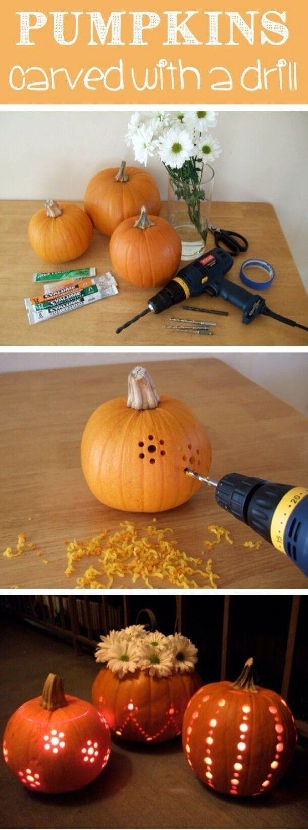 DIY Pumpkin Carving Ideas: Carve Your Pumpkins With A Drill