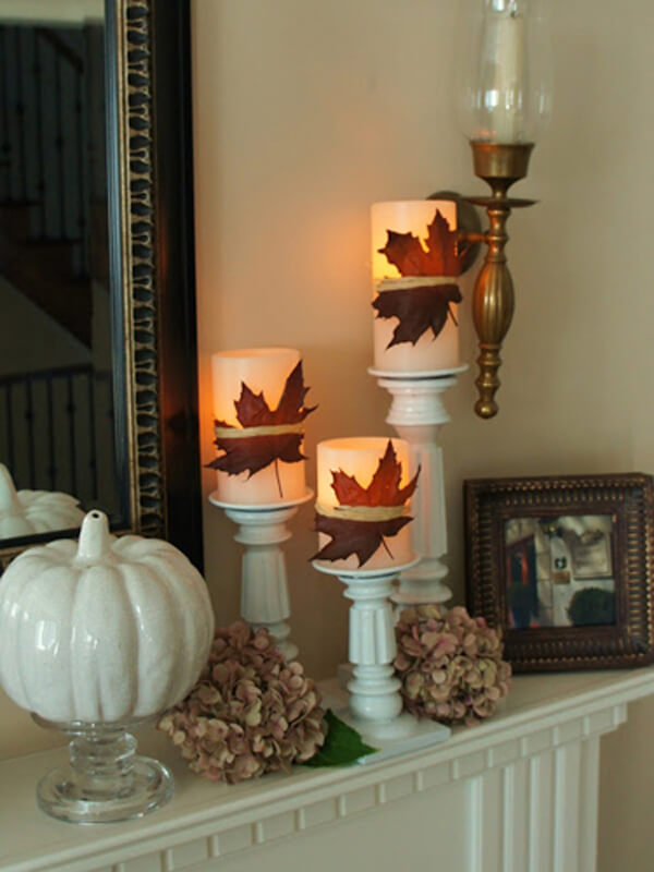 Classic Fall Leaves Decorate your Candles | Fall Mantel Decorating Ideas For Halloween