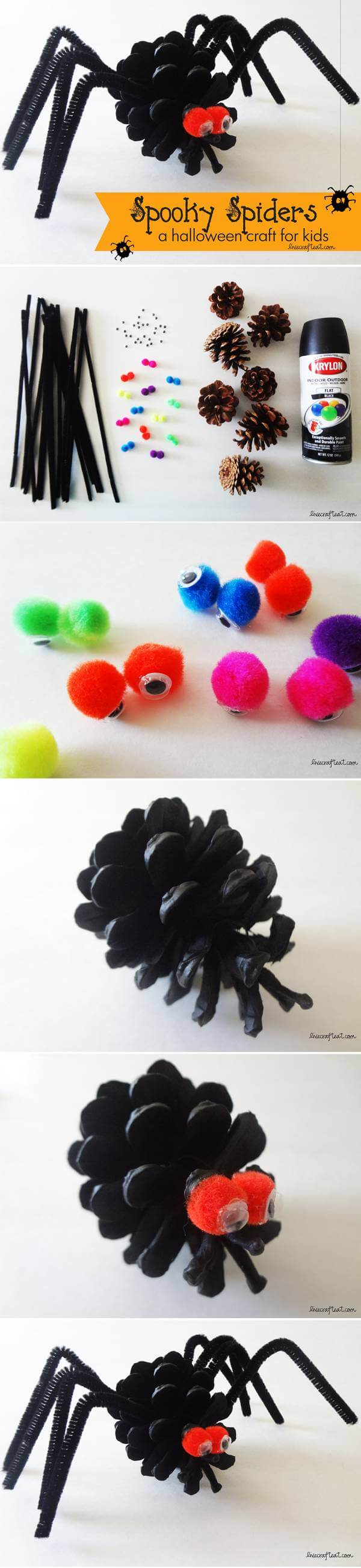 Pine Cone and Pipe Cleaner Spiders | Fun & Creative DIY Halloween Crafts for Kids
