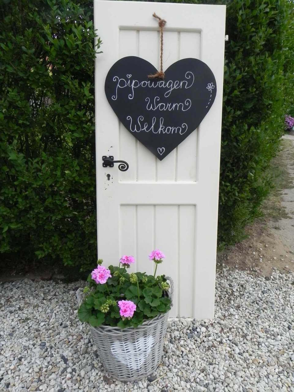 Old Door Outdoor Decor Idea with Chalkboard Signs | Creative Repurposed Old Door Ideas & Projects For Your Backyard