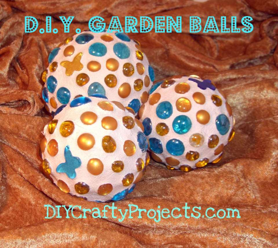 Glass Gem and Butterfly Garden Balls | DIY Garden Ball Ideas