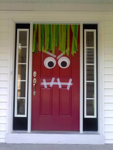 Halloween Front Door Decoration Ideas: Googly Eye Monster