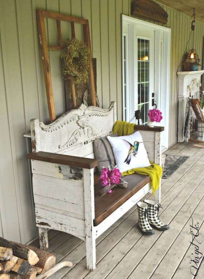 The Prettiest Shabby Chic Bench | Vintage Porch Decor Ideas