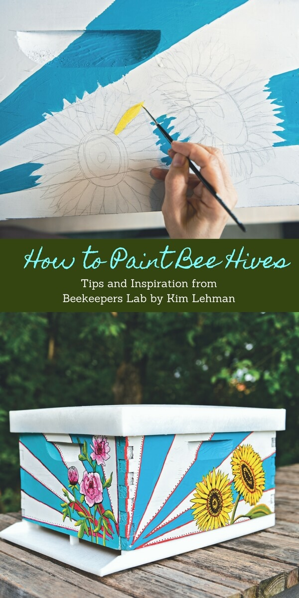 Bright Flowers and Rays on Bee Hive   DIY Painted Garden Decoration Ideas