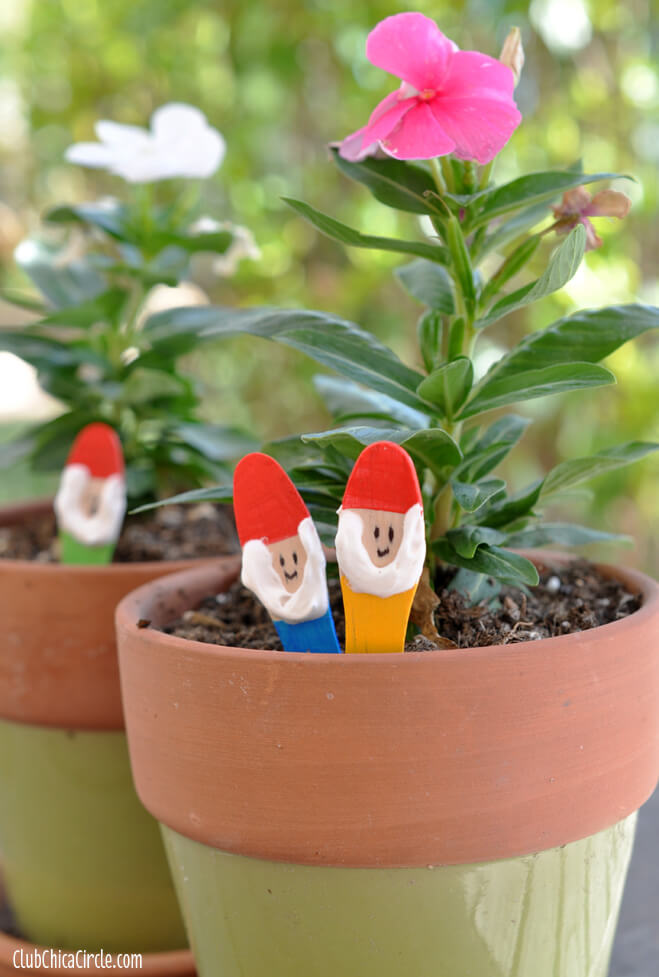 The Gnomes Peek from the Flower Pots | DIY Painted Garden Decoration Ideas