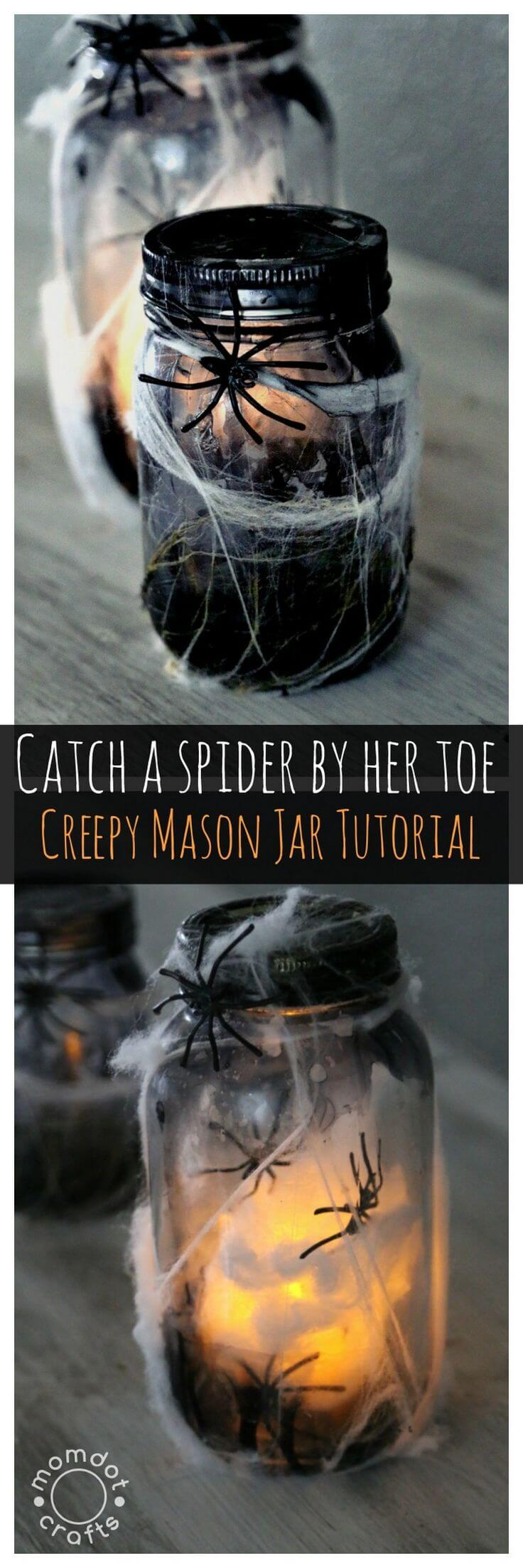 DIY Mason Jar Halloween Crafts: Super Scary Spider Web Luminaries