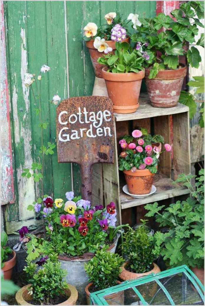Cottage Garden Sign on a Shovel | Funny DIY Garden Sign Ideas