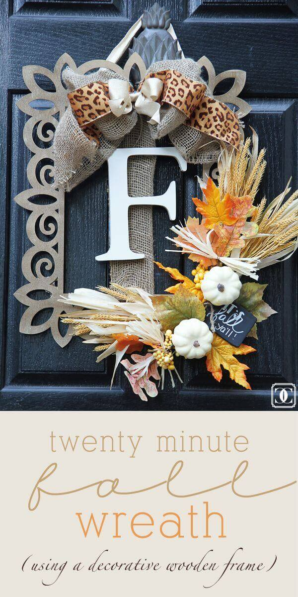 Ornate Fall Framed Monogram with Harvest Embellishments