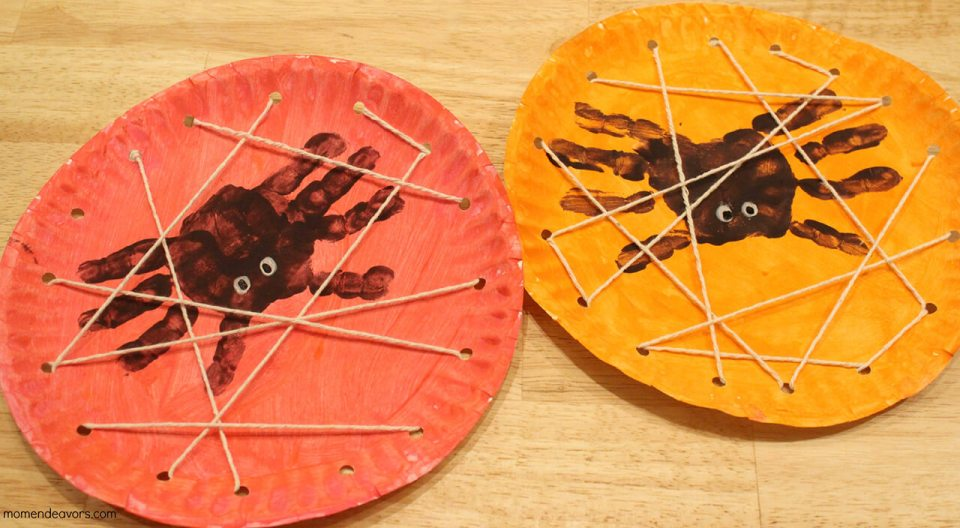 Spooky Hand Print Spiders with Webs   Fun & Creative DIY Halloween Crafts for Kids