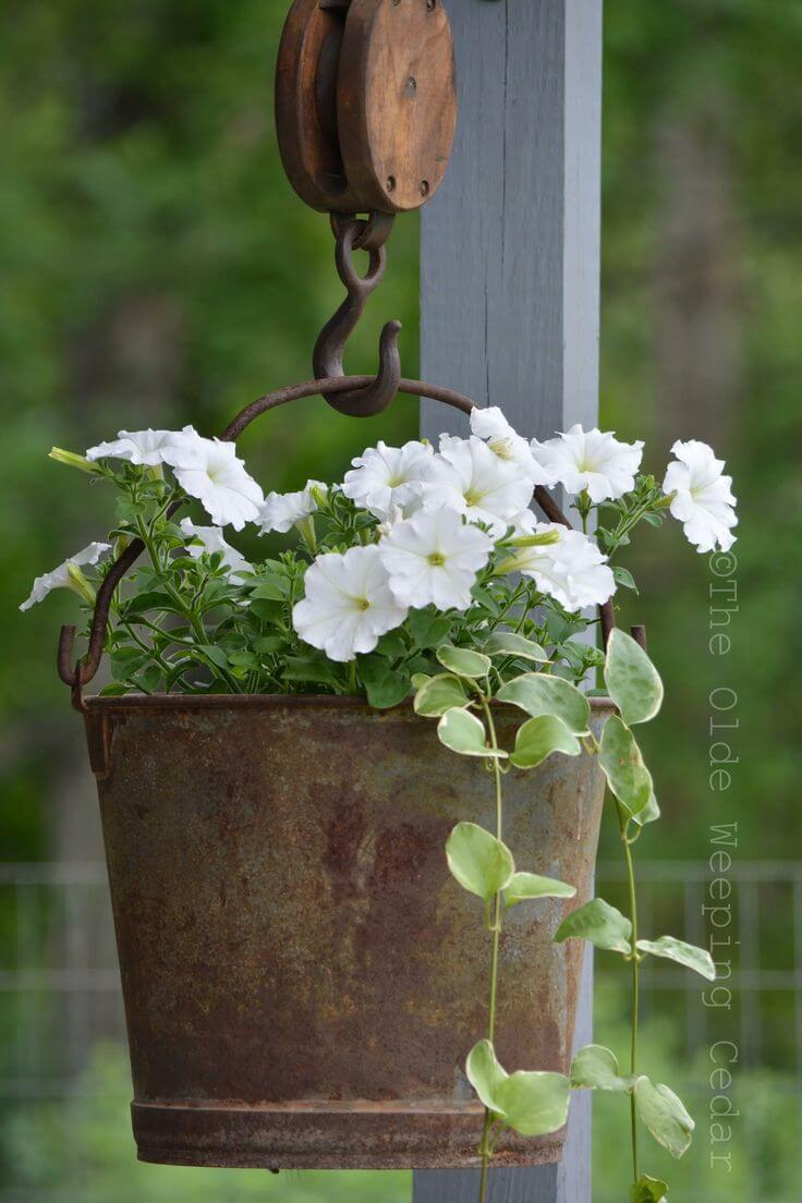 Vintage Garden Decor Ideas: Antique Metal Bucket Hanging Basket