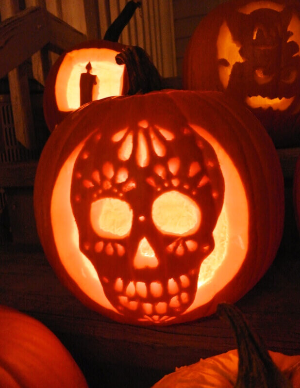 DIY Pumpkin Carving Ideas: Sugar Skull