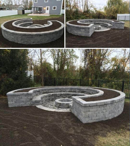 Crescent-Shaped Firepit Made from White Brick | Awesome Firepit Area Ideas For Your Outdoor Activities