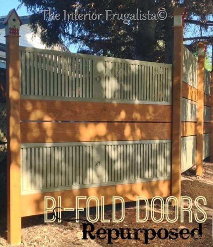 DIY Fence Ideas: Repurposed Bi-Fold Door and Plank Fence