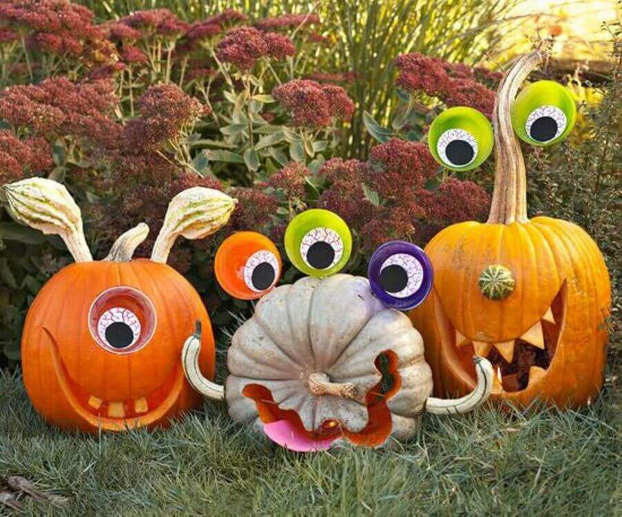 DIY Pumpkin Carving Ideas: Googly-Eyed Monsters