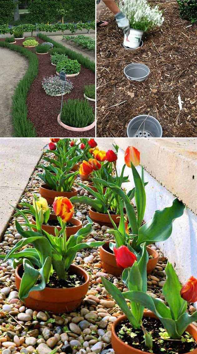 Dig a hole and fill it with an empty plastic pot, so that you can easily replace your seasonal potted plants   Clever Gardening Ideas on Low Budget