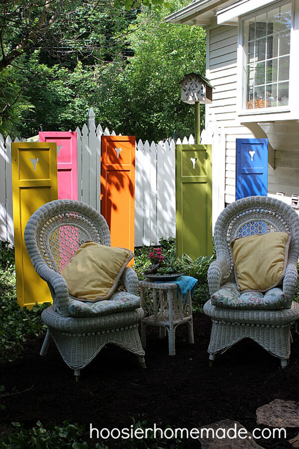 Standing Shutters in All Colors   DIY Painted Garden Decoration Ideas