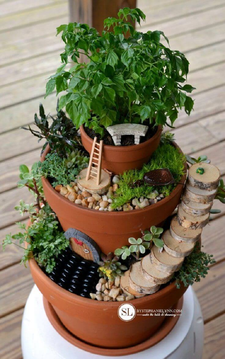 DIY Tiered Fairy Tower Pots | fairy garden accessories | miniture fairy garden ideas inspiration | homemade fairy garden decorations