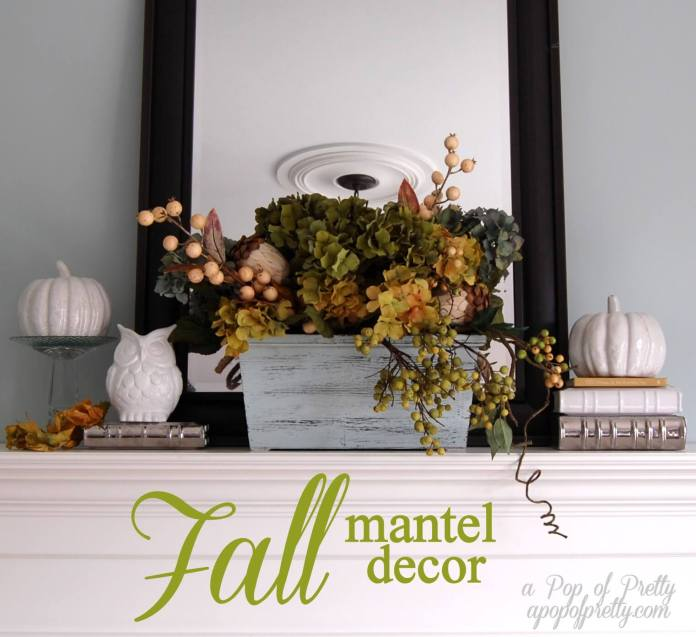 White Details Freshen up Traditional Colors | Fall Mantel Decorating Ideas For Halloween