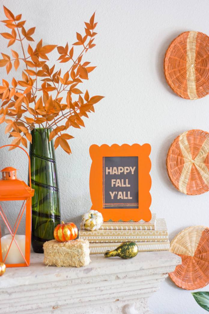 Accent on Orange for a Cheerful Mood   Fall Mantel Decorating Ideas For Halloween