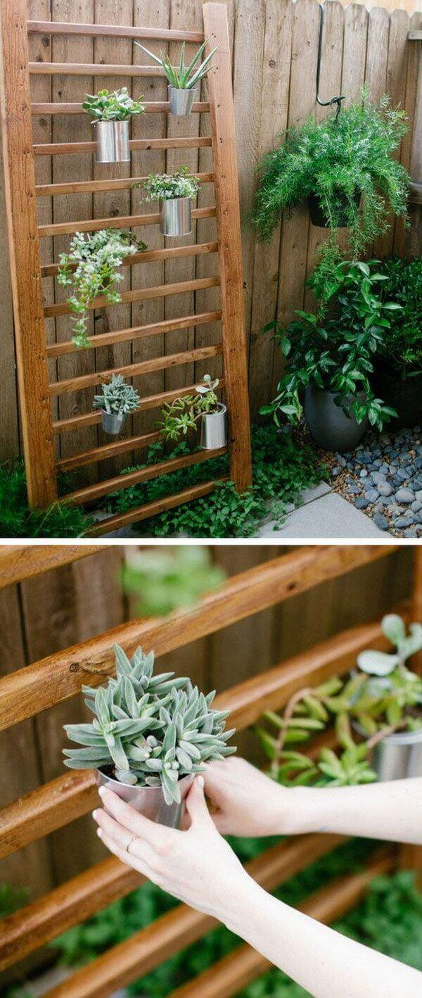 Modern Wooden Planting Wall with Metal Pots | DIY Outdoor Hanging Planter Ideas | Plant Pot Design Ideas