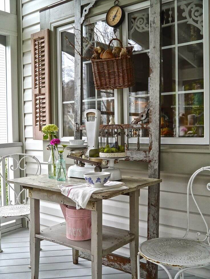 Distressed Outdoor Country Store Display | Vintage Porch Decor Ideas