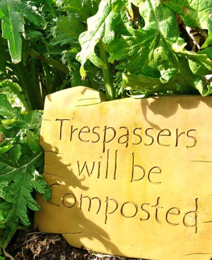 Carved Sign with Awesome Message   Funny DIY Garden Sign Ideas