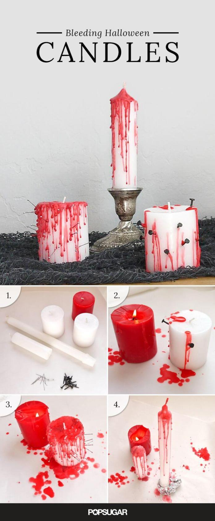 Bloody Candles without the Gore | DIY Indoor Halloween Decorating Ideas