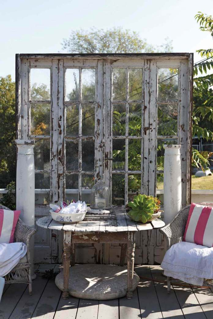 Weathered French Doors as a Backdrop | Creative Repurposed Old Door Ideas & Projects For Your Backyard