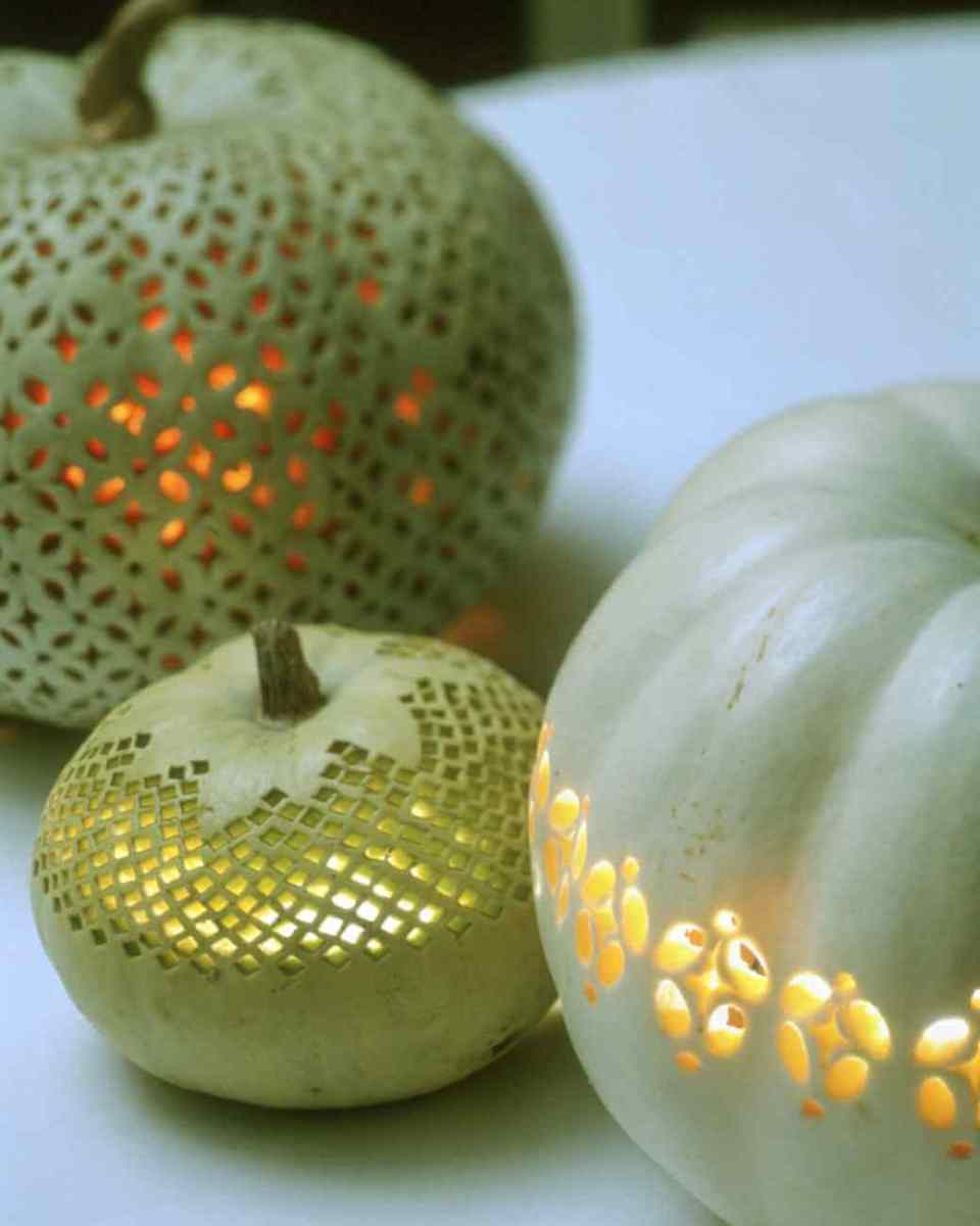 DIY Pumpkin Carving Ideas: Lace Patterned Pumpkins