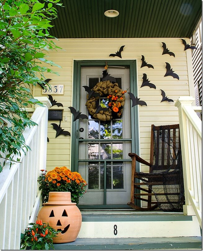 Halloween Door Decoration Ideas: Happy Halloween Front Porch
