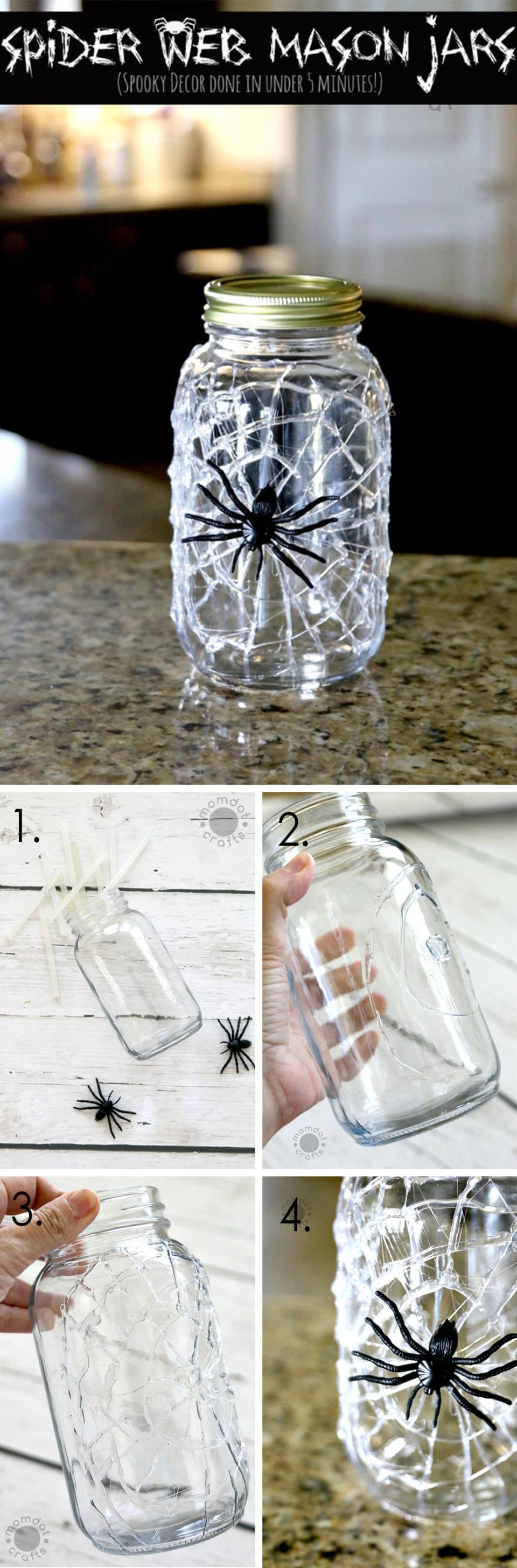 DIY Mason Jar Halloween Crafts: 10-Minute Hot Glue Spiderweb Mason Jar