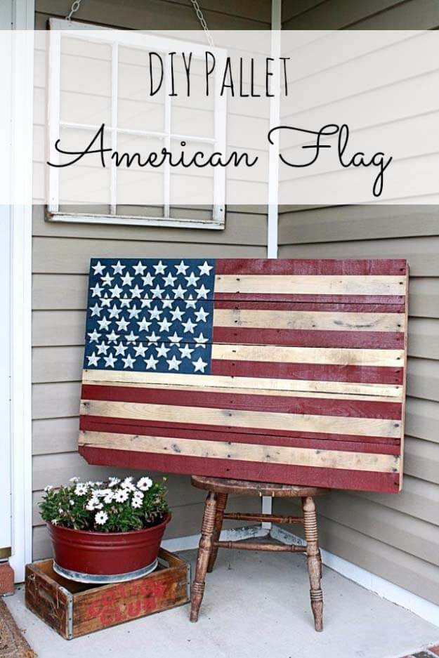 American Flag Gives Wood Pallet Patriotic Lift   DIY Painted Garden Decoration Ideas
