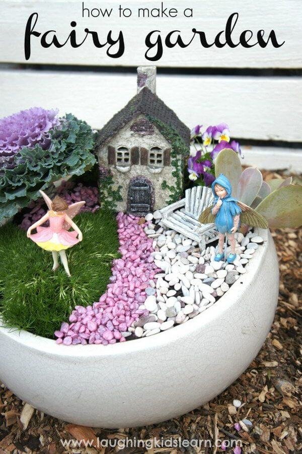 Cabbage and Colored Pebble Garden | fairy garden accessories | miniture fairy garden ideas inspiration | homemade fairy garden decorations
