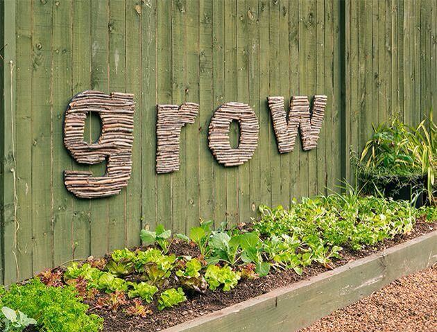 Wall Letters Created with Twigs   Funny DIY Garden Sign Ideas