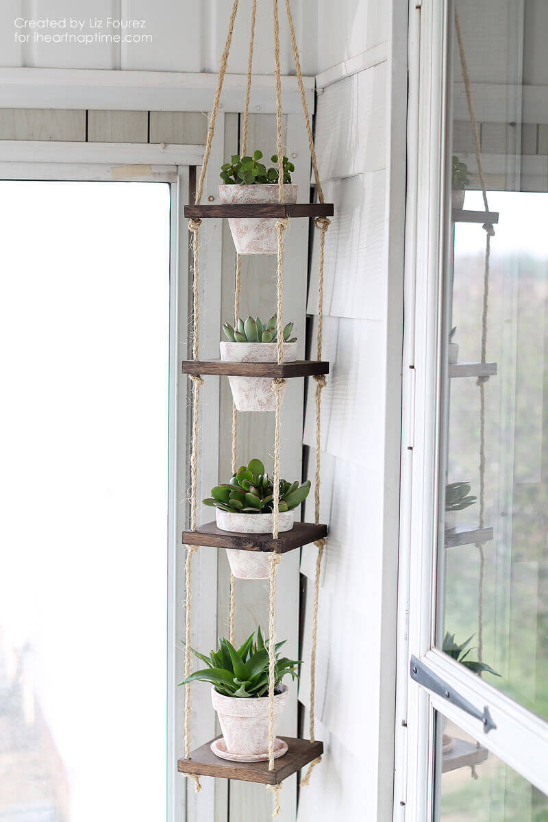 DIY Wood and Twine Hanging Succulent Tower | DIY Outdoor Hanging Planter Ideas | Plant Pot Design Ideas