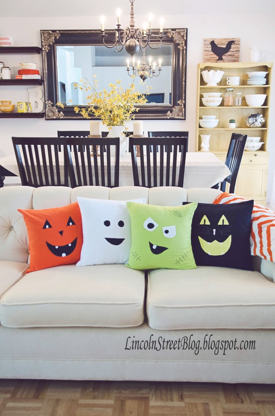 Pillows Offer Comfort, Whimsy | DIY Indoor Halloween Decorating Ideas